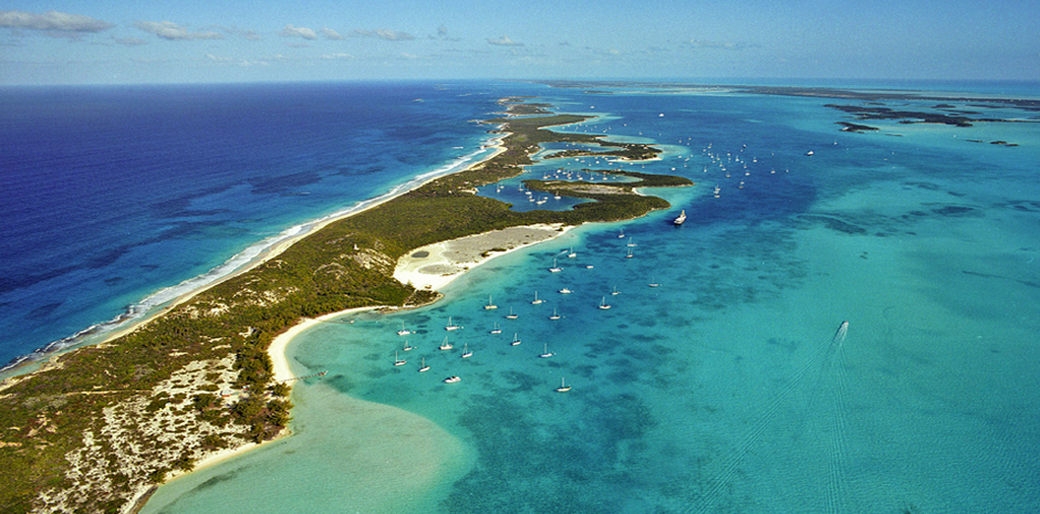 Aerial view of stocking island in the Bahamas